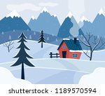 winter snowy landscape with... | Shutterstock .eps vector #1189570594