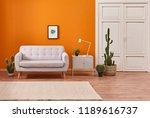 modern home decoration orange... | Shutterstock . vector #1189616737