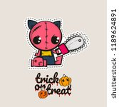 halloween stitch zombie kitty... | Shutterstock .eps vector #1189624891