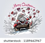 surprised and cheerful santa... | Shutterstock .eps vector #1189662967