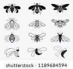 set of vector stylized bees.... | Shutterstock .eps vector #1189684594