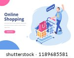isometric man with shopping... | Shutterstock .eps vector #1189685581