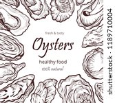 oyster healthy natural sea food ... | Shutterstock .eps vector #1189710004