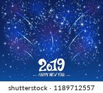 lettering happy new year 2019... | Shutterstock . vector #1189712557