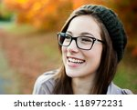 young woman wearing glasses... | Shutterstock . vector #118972231