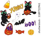 set of scary halloween objects. ... | Shutterstock .eps vector #1189722961