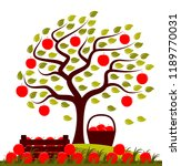 vector apple tree in the wind ... | Shutterstock .eps vector #1189770031