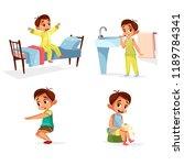 cartoon boy daily routine ...   Shutterstock . vector #1189784341
