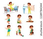 cartoon boy daily routine... | Shutterstock . vector #1189784344