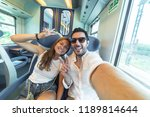happy couple travelling take... | Shutterstock . vector #1189814644