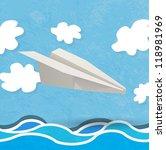 vector paper aircraft landing... | Shutterstock .eps vector #118981969