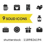 lifestyle icons set with gift ...