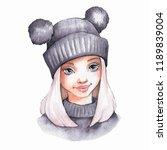 cute cartoon girl ingray warm... | Shutterstock . vector #1189839004