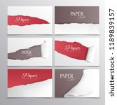 torn paper cards realistic set... | Shutterstock .eps vector #1189839157