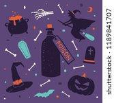 happy halloween design elements ... | Shutterstock .eps vector #1189841707