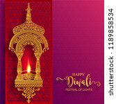 happy diwali festival card with ... | Shutterstock .eps vector #1189858534
