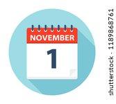 november 1   calendar icon  ... | Shutterstock .eps vector #1189868761
