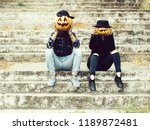 young halloween couple of man... | Shutterstock . vector #1189872481