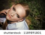 woman with makeup on young face ...   Shutterstock . vector #1189891801