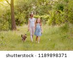 two lovely sisters playing with ... | Shutterstock . vector #1189898371