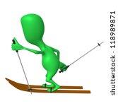 Side view green puppet ski on white snow - stock photo