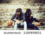 young halloween couple of... | Shutterstock . vector #1189898851