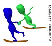 Side view puppets glide on one ski both - stock photo