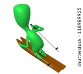 Over view green puppet maneuvering skis on gliding - stock photo