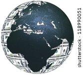 3d dollar globe.   Shutterstock . vector #118990051