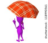 Behind view puppet hold squared umbrella under rain - stock photo