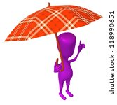Front view puppet hold squared umbrella under rain - stock photo