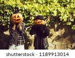 young halloween couple of... | Shutterstock . vector #1189913014