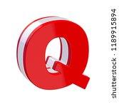 red glossy alphabet letter q on ... | Shutterstock . vector #1189915894