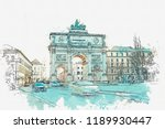 a watercolor sketch or... | Shutterstock . vector #1189930447