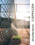 padel blade racket resting on... | Shutterstock . vector #1189941304