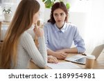 caucasian millennial women... | Shutterstock . vector #1189954981