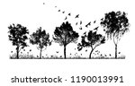 silhouette of trees in the... | Shutterstock .eps vector #1190013991