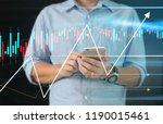 man hand holding smartphone...   Shutterstock . vector #1190015461