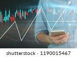 man hand holding smartphone... | Shutterstock . vector #1190015467
