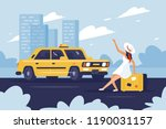 person catching taxi on the...   Shutterstock .eps vector #1190031157