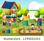 kids playing on playground... | Shutterstock .eps vector #1190032441