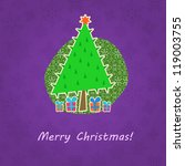 green christmas tree  on purple ... | Shutterstock .eps vector #119003755