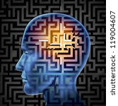 Stock photo brain search and human intelligence for research in finding solutions by creative paths and 119004607