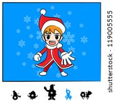 Characters Christmas : Santa Boy Comic Style - stock vector