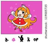 Characters Christmas : Santa Girl Comic Style - stock vector
