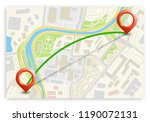 city map navigation route ... | Shutterstock . vector #1190072131