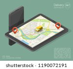 city map navigation route ... | Shutterstock . vector #1190072191
