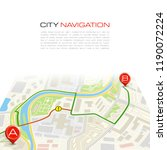 city map navigation route ... | Shutterstock . vector #1190072224
