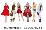 sketch. fashion girls on a... | Shutterstock .eps vector #1190078251