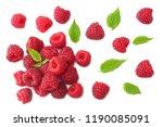 ripe raspberries with green... | Shutterstock . vector #1190085091